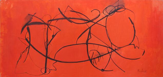 Untitled (Orange with Black Swirls)