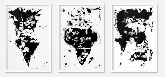 World Map 2 triptych