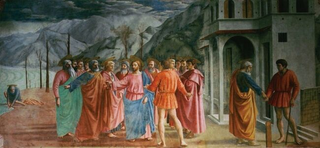 Jesus, Saint Peter and the tax collector (Matthew 17, 24-27) (Tribute Money)