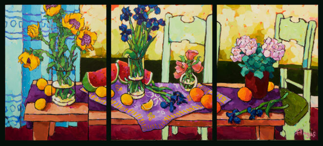 Groupings of Flowers on Long Table (Triptych)