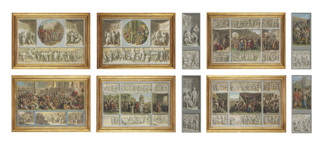Ten scenes after the Antique with trompe l'oeil bas-relief friezes
