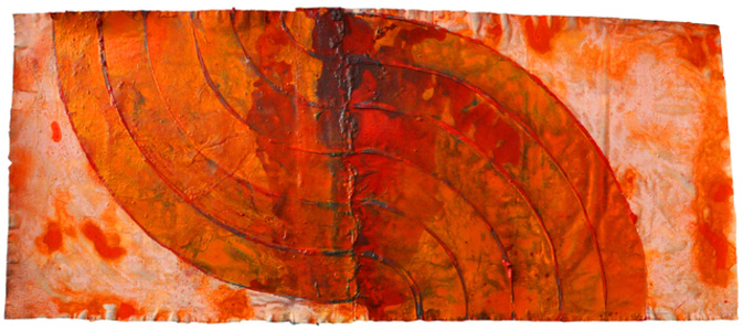 Estandarte Levantada (to Frank Stella) 2015,  160 x 380 cm acrylic and pigments on canvas Eur.   29.000