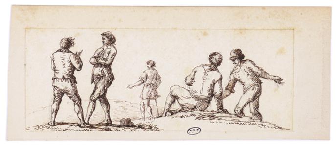 Etudes de cinq personnages dans la campagne romaine
