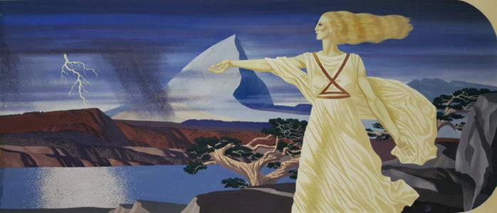 Woman in Surreal Landscape  Illustration
