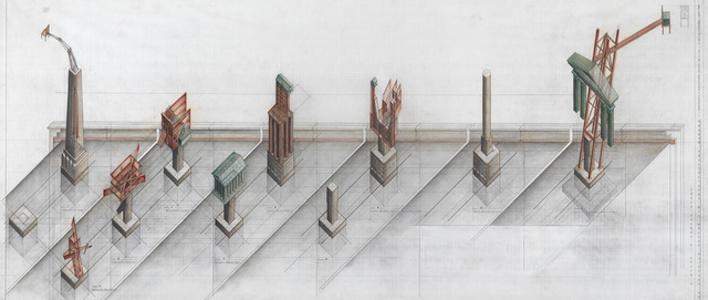 Allegorical Columns, CCA Garden, Montréal, Québec