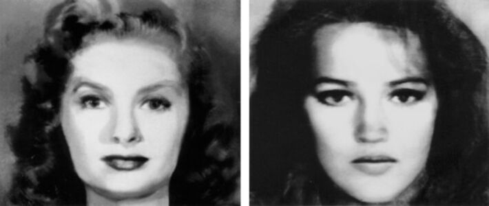 First and Second Beauty Composites (Left: Bette Davis, Audrey Hepburn, Grace Kelly, Sophia Loren, Marilyn Monroe. Right: Jane Fonda, Jacqueline Bisset, Diane Keaton, Brooke Shields, Meryl Streep)