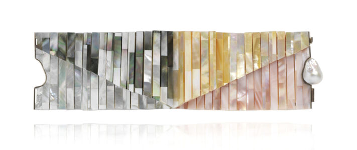 Mother of Pearl tile double bracelet