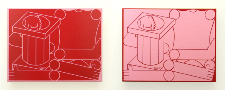 Untitled Classical Sculpture (Male : Diptych: Quinacridone Red & Dianthus Pink)