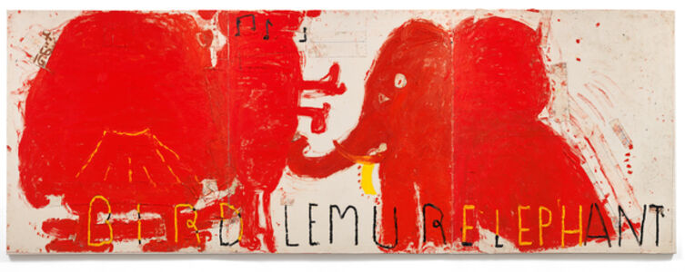Red Painting: Bird, Lemur, & Elephant