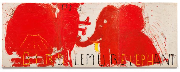 Red Painting: Bird, Lemur, & Elephant
