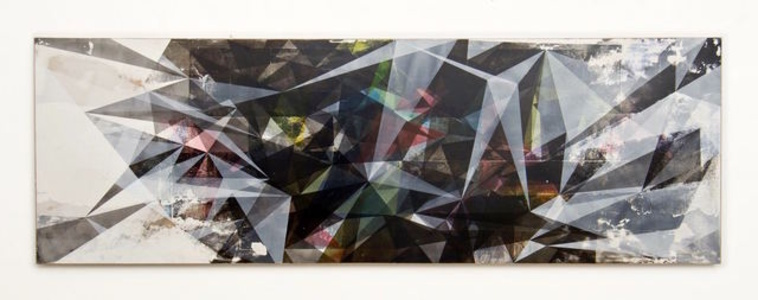 o.T. (circle surface sun_90x300_3), acrylic, pencil and plaster on hdf panel, 300 x 90 cm