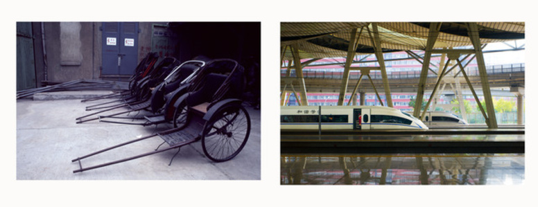 (Left) Rickshaw, (Right) Bullet Train