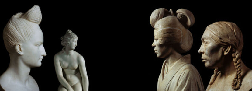 Untitled (Pierre-Jean David d'Angers, Bust of Ann Buchan Robinson, Museum of City of New York; Joseph Nollekensm Venus, The J. Paul Getty Museum, Los Angeles; Malvina Hoffman, Japanese Woman [337087], The Field Museum, Chicago; Malvina Hoffman, Eskimo Woman [337060])