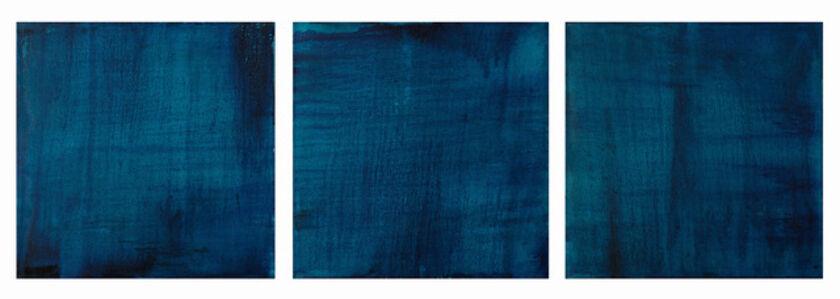 Three (translucent turquoise, prussian paris blue - triptych)