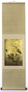 Swallow and Lotus (Printed on gold leaf and mounted on a scroll by Genyu Yoshihashi)