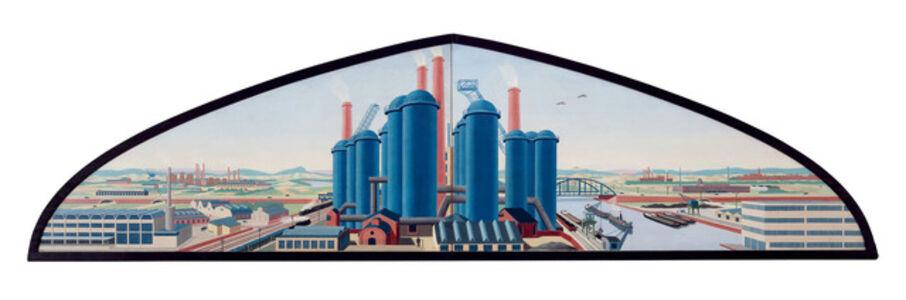 """Entwurf für Wandbild """"Industrielandschaft"""""""