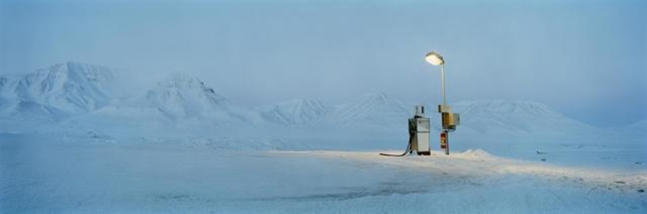Gasoline Pump in moonlight, Barentsburg series