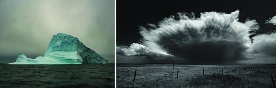 Iceberg 1 Scoresby Sund, Greenland and Wyo Sky (dyptich)