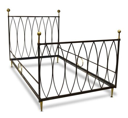 Gilbert Poillerat, 'a wrought steel and brass single bed', c. 1940
