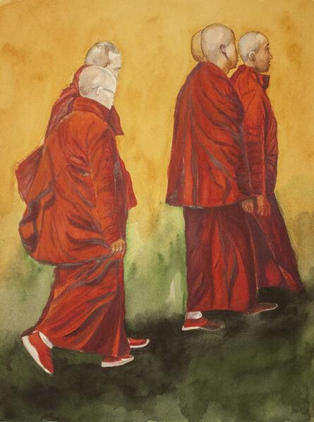 Carlos Giordano Giroldi, 'Bhutanese monks walking', 2020