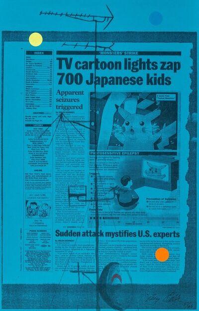 Tony Oursler, 'Untitled (TV cartoon lights zap 700 Japanese kids), triptych', 1998