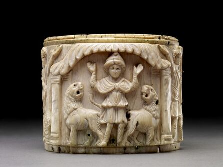 'Ivory pyxis box depicting Daniel with arms raised in prayer is flanked by two lions', 5th or early 6th century AD