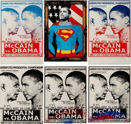 Mr. Brainwash, 'McCain vs. Obama and Obama Superman (Gold) (7 works)'