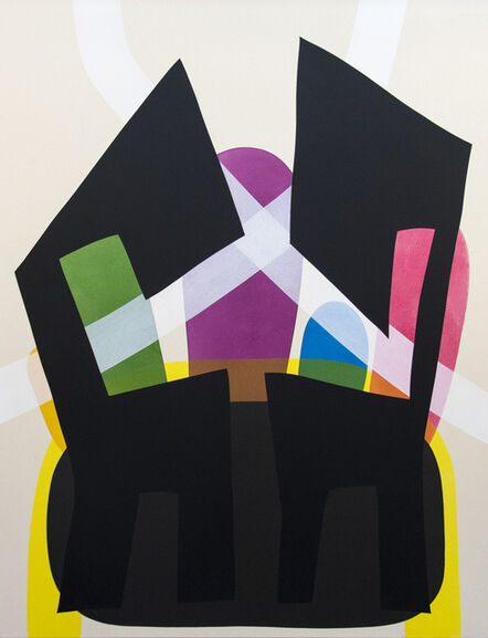 Aron Hill, 'Two Black Chair Like Shapes Over Black - bright, abstract, acrylic on canvas', 2016
