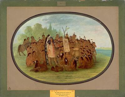 George Catlin, 'Catlin Painting the Portrait of Mah-to-toh-pa - Mandan', 1861/1869