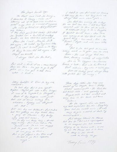 Tracey Emin, 'Other Men's Flowers. A Text Publication by Fifteen London Based Artists', 1994