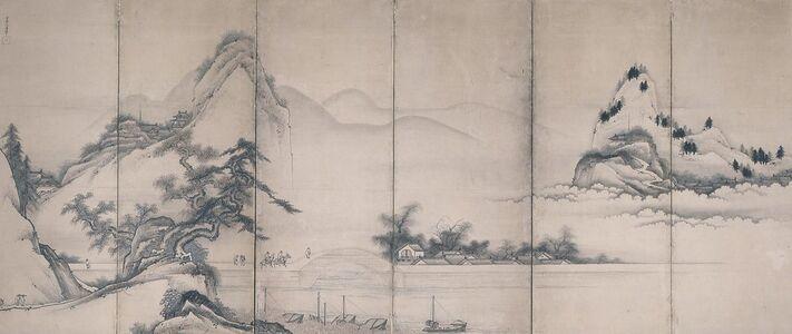 Toetsu, 'Travelers on A Lakeside Bridge', about 1700