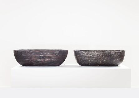 Anders Ruhwald, 'LaminatedPinewood Bowl, charred. Smolder-firedEarthenware Bowl, Crackedand Mended.', 2014
