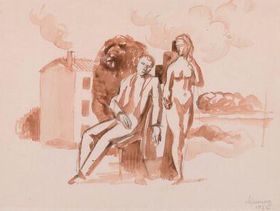 Roger de la Fresnaye, 'Le couple devant la maison', Exécuté en 1922