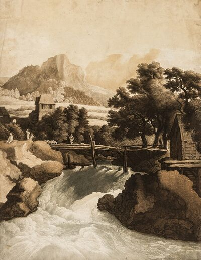 Johann Gottlieb Prestel, 'Waterfall in a Rocky Landscape, with woodland and mountains beyond, after Jacob van Ruisdael', circa 1800