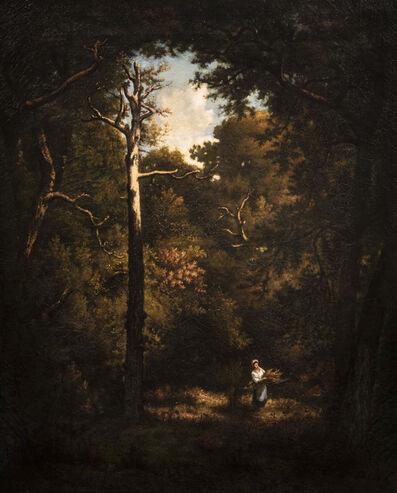 Narcisse Diaz de la Peña, 'Arbres morts en forêt, bucheronne sur le chemin', painted in 1866