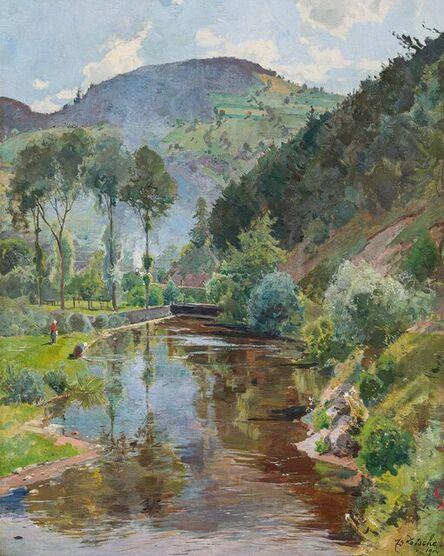 Eduard Zetsche, 'By the river Krems near Senftenberg', 1904