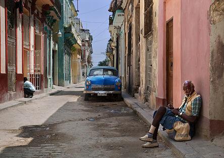 Neil O. Lawner, 'Old Havana with Blue Car'