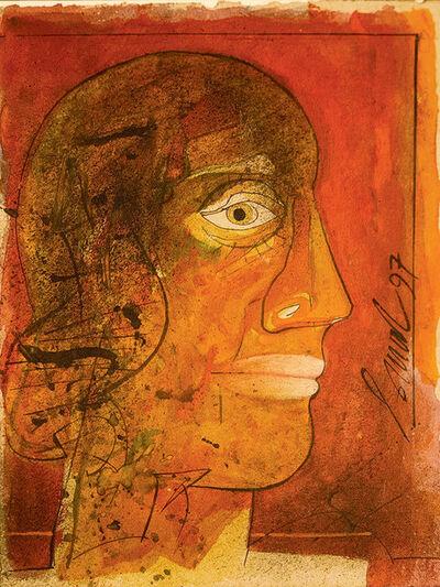 """Sunil Das, 'Head Series I, Mixed Media on Board, by Padmashree Artist Sunil Das """"In Stock""""', 1997"""