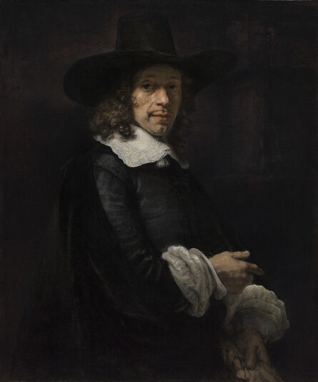 Rembrandt van Rijn, 'Portrait of a Gentleman with a Tall Hat and Gloves', ca. 1658/1660