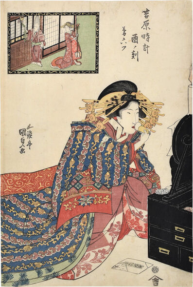 Utagawa Toyokuni III (Utagawa Kunisada), 'Hours of the Yoshiwara: The Hour of the Rooster, Sixth Hour of Twilight', ca. 1818-20