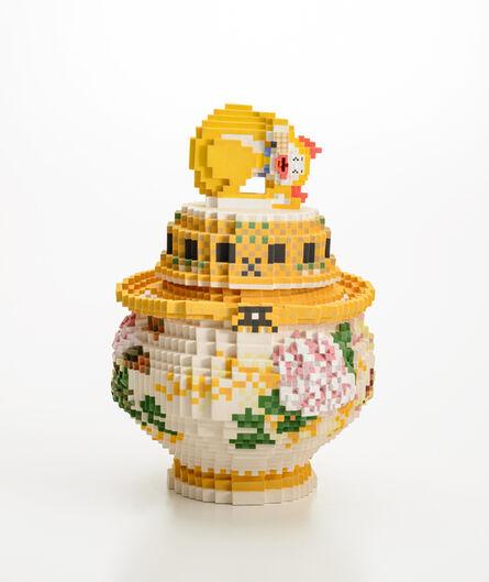 "Toshiya Masuda, 'Low pixel CG, Tribute-High relief peony  ニsleep yellow cat awakening incense burner-"" The motif of this work is  ""High relief engraving peony ニ sleepy cat awakening incense burner""', 2018"