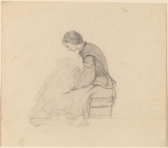 Elihu Vedder, 'Study of a Girl Reading', ca. 1858