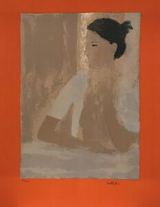 Bernard Cathelin, 'Nu au casaquin blanc (orange margin)', 1973