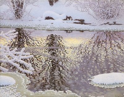 Gustaf Edolf Fjaestad, 'Hoarfrost And Streaming Water'
