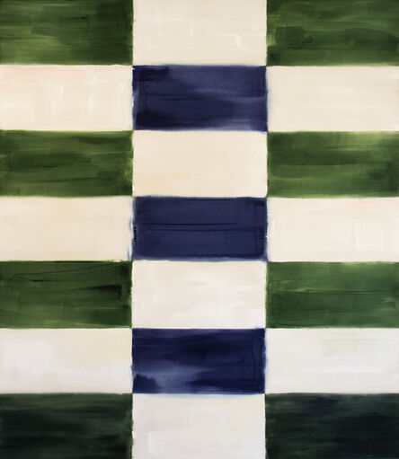 Milly Ristvedt, 'Judd - large, blue, green, abstract, geometric composition, acrylic on canvas', 1998