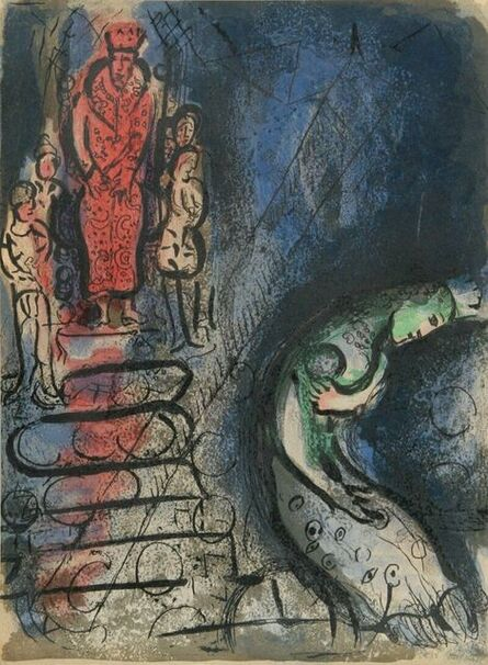 """Marc Chagall, 'Ahaseurus Banishes Vashti from """"Drawings From the Bible""""', 1960"""
