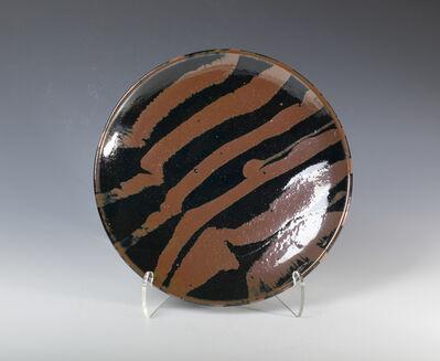Shōji Hamada, 'Plate, tenmoku and kaki glaze with trailed decoration', 1970