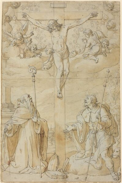 Filippo Bellini, 'The Crucifixion with Saints Roch and Augustine'
