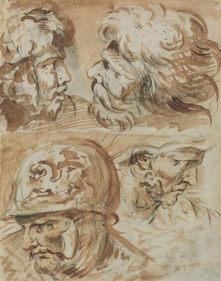 Circle of François Boucher, 'Four heads of Roman soldiers'