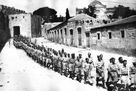 Tim Gidal, 'Jewish soldiers of the Free Polish Army, Zion Gate, Jerusalem ', 1945